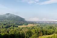 Town of Cornwall, New York - A morning view of the Moodna Viaduct railroad trestle and Schunnemunk Mountain on Aug. 7 , 2019.