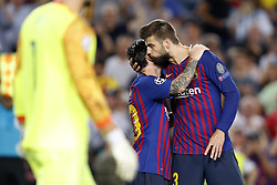 (L-R) PSV goalkeeper Jeroen Zoet,  Lionel Messi of FC Barcelona, Gerard Pique of FC Barcelona during the UEFA Champions League group B match between FC Barcelona and PSV Eindhoven at the Camp Nou stadium on September 18, 2018 in Barcelona, Spain.
