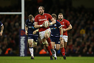 Wales capt Alun Wyn Jones © makes a break. Wales v Scotland, NatWest 6 nations 2018 championship match at the Principality Stadium in Cardiff , South Wales on Saturday 3rd February 2018.<br /> pic by Andrew Orchard, Andrew Orchard sports photography