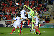 Karen Bardsley (GK) (England) punches the ball clear during the Euro 2017 qualifier between England Ladies and Belgium Ladies at the New York Stadium, Rotherham, England on 8 April 2016. Photo by Mark P Doherty.