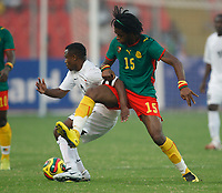 Photo: Steve Bond/Richard Lane Photography.<br /> Cameroun v Zambia. Africa Cup of Nations. 26/01/2008. Alexandre Song (R) tries the wrestle the ball from Christopher Katongo (L)