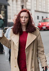 © Licensed to London News Pictures; 11/03/2020; Picture of LAURA HAWKINS (beige coat) arriving at Bristol Crown Court where she is on trial charged with permitting a property to be used for the production of drugs. James Toogood, age 36, is on trial at Bristol Crown Court, charged with damaging property, being reckless as to whether life was endangered, destroying property and he admits producing a Class B drug. Toogood has admitted producing butane hash oil but says he was not doing so on February 23 2019, the date when there was an explosion at the house he was living in, a council flat at 264 Whitchurch Lane. LAURA HAWKINS, 39, is charged with permitting a property to be used for the production of drugs. At the house explosion in Whitchurch Lane, three people received minor injuries and were taken to hospital and much of the house was destroyed. A large trampoline was used to help some people escape. Photo credit: Simon Chapman/LNP.