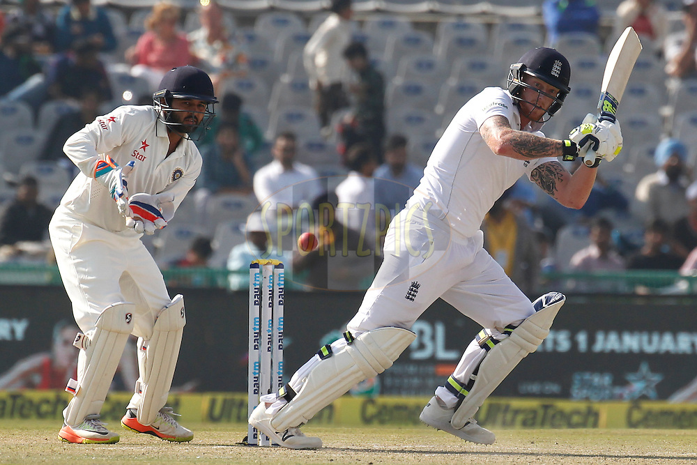 Ben Stokes of England bats during day 1 of the third test match between India and England held at the Punjab Cricket Association IS Bindra Stadium, Mohali on the 26th November 2016.<br /> <br /> Photo by: Deepak Malik/ BCCI/ SPORTZPICS