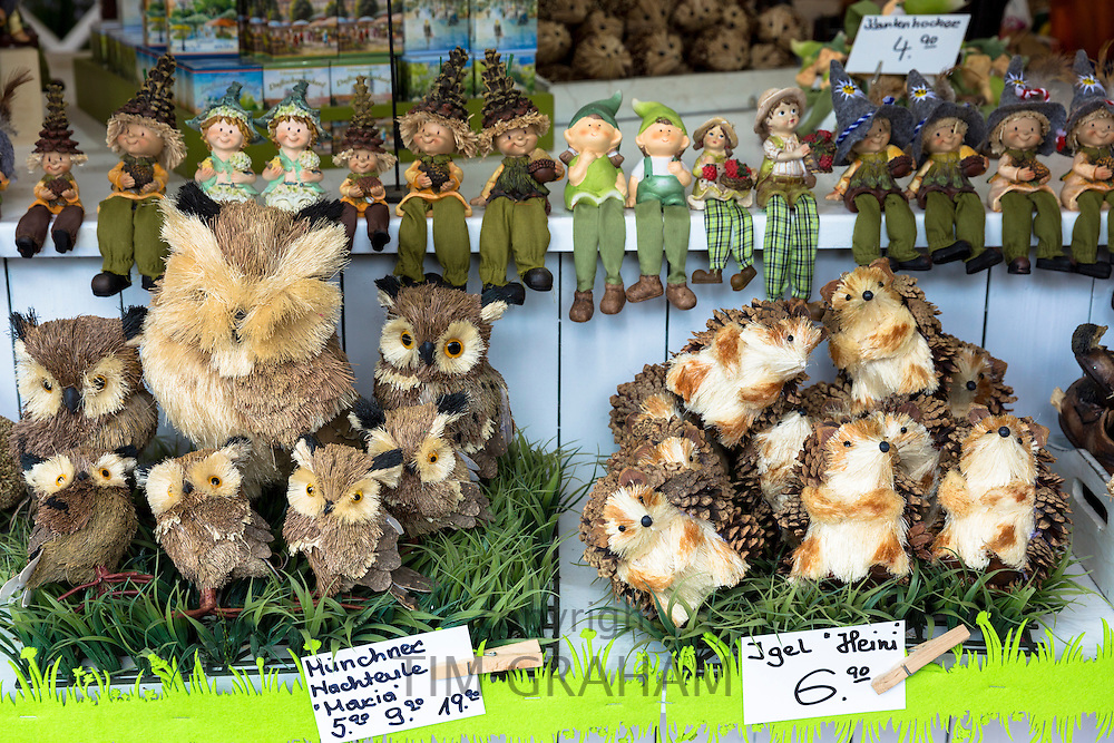 Ornaments, toys and gifts on display at shop in Munich, Bavaria, Germany