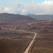 Road to the volcano, Piton de la Fournaise, across the Plaine de Sables