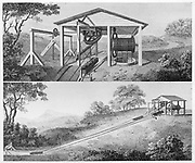 Double inclined plane for moving tub boats from one level to another on a canal.. Boats were lowered on rails and counterbalanced by a tub containing water. Such a plane was constructed on Bude Canal at Hobbacott Down. Inclined planes were used as a cheaper alternative to locks, the building of which could make a canal uneconomic. From  'A Treatise on the Improvement of Canal Navigation',  Robert Fulton, (London, 1796). Engraving.