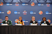 April 3, 2016; Indianapolis, Ind.; Head coach Ryan McCarthy, Megan Mullings, Jenna Buchanan and Keiahnna Engel address the media during their press conference at Bankers Life Fieldhouse.