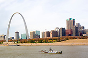 St. Louis Missouri MO USA, The Gateway Arch, Jefferson National Expansion Memorial  park, the Mississippi river, and the Illinois side of Eads bridge.