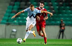 Blaz Kramer of Slovenia vs Artur Ionita of Moldova during the UEFA Nations League C Group 3 match between Slovenia and Moldova at Stadion Stozice, on September 6th, 2020. Photo by Vid Ponikvar / Sportida