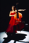 Kate Bush with double Bass during 1980 video shoot