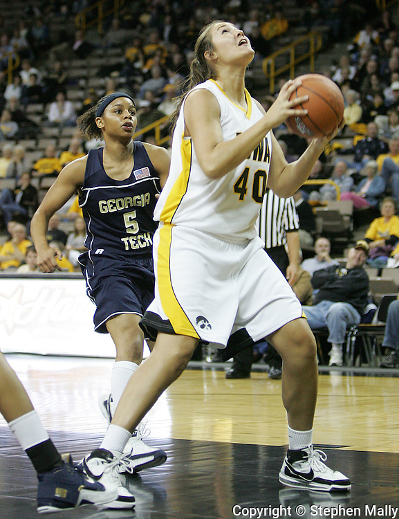 28 NOVEMBER 2007: Iowa center Stacy Schlapkohl (40) looks to up at the basket in the first half of Georgia Tech's 76-57 win over Iowa in the Big Ten/ACC Challenge at Carver-Hawkeye Arena in Iowa City, Iowa on November 28, 2007.