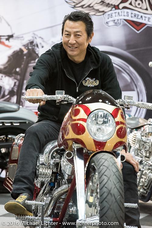 Ken Nagai on his all hand made Harley-Davidson Twin Cam Bagger at the Mooneyes Yokohama Hot Rod & Custom Show. Yokohama, Japan. December 3, 2016.  Photography ©2016 Michael Lichter.