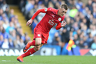 Jamie Vardy of Leicester City in action. Premier league match, Chelsea v Leicester city at Stamford Bridge in London on Saturday 15th October 2016.<br /> pic by John Patrick Fletcher, Andrew Orchard sports photography.