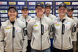 Peter Dokl,  Jakov Fak, Janez Maric,  Vasja Rupnik, Klemen Bauer and Uros Velepec at press conference of Slovenia Biathlon team before new season 2010 - 2011, on November 24, 2010, in Emporium, BTC, Ljubljana, Slovenia.  (Photo by Vid Ponikvar / Sportida)