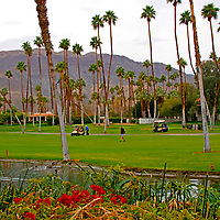 USA, California, Rancho Mirage. Omni Rancho Las Palmas Resort golfers.
