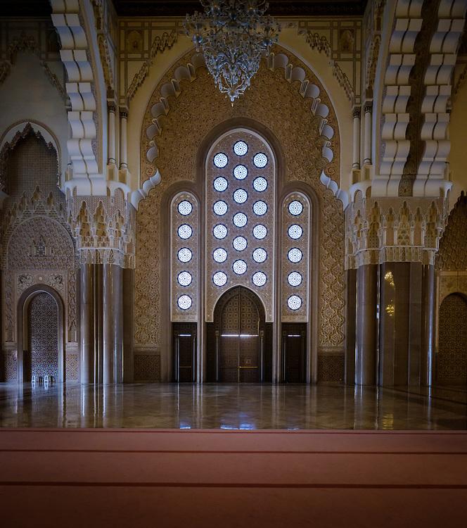 CASABLANCA, MOROCCO - CIRCA APRIL 2018: Interior of the Mosque Hassan II in Casablanca.