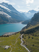 Aerial View of Swiss Scene in the Alps in Oeschinensee, Switzerland
