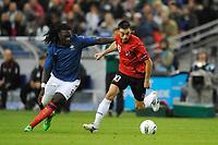 FOOTBALL - UEFA EURO 2012 - QUALIFYING - GROUP STAGE - GROUP D - FRANCE v ALBANIA - 07/10/2011 - PHOTO GUY JEFFROY / DPPI - KLODIAN DURO (ALB) / BAFETIMBI GOMIS (FRA)
