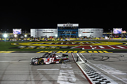 March 1, 2019 - Las Vegas, NV, U.S. - LAS VEGAS, NV - MARCH 01: Kyle Busch (51) KBM Toyota Tundra celebrates the race win in front of the ThriveHive Digital Center during the NASCAR Gander Outdoors Truck Series Strat 200 on March 01, 2019, at Las Vegas Motor Speedway in Las Vegas, NV. (Photo by Chris Williams/Icon Sportswire) (Credit Image: © Chris Williams/Icon SMI via ZUMA Press)