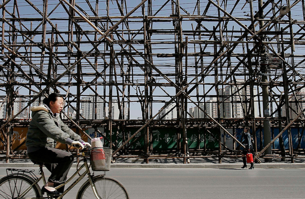 Wooden scaffolding on Beiyuan Rd. in Chaoyang District in Beijing, China.