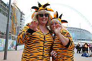 fancy dressed Hull City fans pose outside Wembley Stadium before k/o.Skybet football league Championship play off final match, Hull city v Sheffield Wednesday at Wembley Stadium in London on Saturday 28th May 2016.<br /> pic by John Patrick Fletcher, Andrew Orchard sports photography.