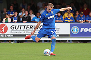 AFC Wimbledon striker Joe Pigott (39) with a shot on goal during the EFL Sky Bet League 1 match between AFC Wimbledon and Scunthorpe United at the Cherry Red Records Stadium, Kingston, England on 15 September 2018.