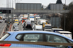 © Licensed to London News Pictures. 28/03/2013.Easter getaway traffic in Kent today (28.03.2013) on the Kent side of the Dartford River Crossing..Easter traffic is already queuing for miles either side of the Dartford toll crossing on the M25 in Kent..Photo credit : Grant Falvey/LNP