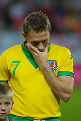 TEPLICE, CZECH REPUBLIC - SATURDAY, SEPTEMBER 2nd , 2006: Wales' Craig Bellamy looks dejected as his country lose the opening UEFA Euro 2008 Group D qualifying match against Czech Republic at the Na Stinadlech Stadium. (Pic by David Rawcliffe/Propaganda)
