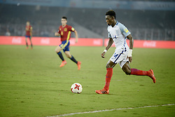 October 28, 2017 - Kolkata, West Bengal, India - England Callum Hadson-Odoi (jersey 14) in actions the FIFA U 17 World Cup India 2017 Final match in Kolkata. Player of England and Spain in action during the FIFA U 17 World Cup India 2017 Final match on October 28, 2017 in Kolkata. England wins FIFA U 17 World Cup 5 - 2 goals against Spain. (Credit Image: © Saikat Paul/Pacific Press via ZUMA Wire)
