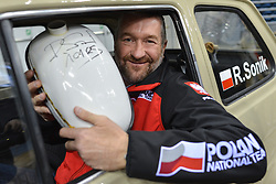 December 8, 2017 - Krakow, Poland - Rafal Sonik, a Polish quad rally driver and participant of Dakar Rally 2018, inside a Polski Fiat 126p, ahead of a press conference of FIM SuperEnduro World Championship 2018 in Tauron Arena...On Friday, December 8, 2017, in Krakow, Poland. (Credit Image: © Artur Widak/NurPhoto via ZUMA Press)