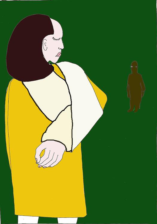 driebergen, 25 febr  2009.illustratie met de mishandeling als thema.  jonge vrouw met  gebroken arm en dader op de achtergrond.. Foto: (c) Renee Teunis