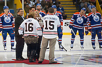 KELOWNA, CANADA - OCTOBER 2: 2015 Hockeyville winner, North Stanch hands the 2016 trophy to Lumby as the Edmonton Oilers line up against the Los Angeles Kings on October 2, 2016 at Kal Tire Place in Vernon, British Columbia, Canada.  (Photo by Marissa Baecker/Shoot the Breeze)  *** Local Caption *** trophy;
