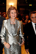 ATHENS, GREECE, 2015, OCTOBER 18 <br /> <br /> Queen Sofia of Spain with her sister Princess Irene attend concert with The Israel Philharmonic Orchestra led the renowned conductor Zubin Mehta. Zubin Mehta is an Indian conductor of Western classical music. He is the Music Director for Life of the Israel Philharmonic Orchestra and the Main Conductor for Valencia's opera house.<br /> ©Exclusivepix Media