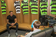 Charlie Cooper being interviewed after signing for Forest Green Rovers. Signing at the New Lawn, Forest Green, United Kingdom on 15 June 2017. Photo by Shane Healey.