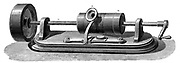 First model of Edison's Phonograph (c.1877).  In this model the recording cylinder was rotated by hand.  Engraving, c 1880