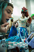 Bp-or-not-BP stage a splash mob art intervention at the British Museum in protest against the continued BP sponsorship of the exhibition Sunken Cities 25th of September 2016. Merfolk actors are getting ready in the Museum cafe. A flock of merfolk and BP pirates roamed the museum as well as a kraken, a giant sea monster.