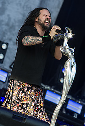 Jonathan Davis of Korn performing live on stage on day 3 of Leeds Festival a Bramham Park, UK. Picture date: Sunday 27 August, 2017. Photo credit: Katja Ogrin/ EMPICS Entertainment.