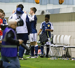 Scotland's Karamoko Dembele at the end. Scotland 2 v 2 Wales, Under 16 Victory Shield, Oriam 1/11/2016.
