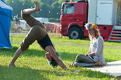 © Licensed to London News Pictures. 29/05/2016. Hay-on-Wye, Powys, Wales, UK. Members of Gypsy Disco (Left: Kirsty Egginton & Right: Aisling Dacre) relax and train before their show tonight on the fourth day of the 'HowTheLightGetsIn' Festival of Ideas at Hay-on-Wye, Wales. Photo credit: Graham M. Lawrence/LNP