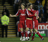Photo: Lee Earle.<br /> Reading v Liverpool. Carling Cup. 25/09/2007. Liverpool's Fernando Torres (C) is congratulated by Lucas Leiva (L) and Yossi Benayoun after he scored their second.