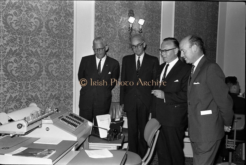 18/06/1963.06/18/1963.18 June 1963.Opening of Burroughs Business Efficiency Exhibition at the Royal Hibernian Hotel, Dublin. The exhibition displayed various models of Burroughs management machines. The highlight was the F4000 Electronic Accounting System - The Sensitronic.. (l-r) Mr Thomas Murray (Chairman E.S.B.), Mr A.N. Bently (Special Banks Representative, for Ireland), Mr. J. Geddes, Burroughs General Manager for Ireland and Mr. M.J. Dargan, Assistant General Manager, Aer Lingus.
