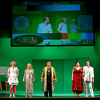 Picture shows : (l-r) Adrian Powter as Taddeo, Julia Riley as Zulma, Mary O'Sullivan as Elvira, Tiziano Bracci as Mustafa, Karen Cargill as Isabella,Thomas Walker as Lindoro  and Paul Carey Jones as Haly..Picture  ©  Drew Farrell Tel : 07721 -735041..A new Scottish Opera production of  Rossini's 'The Italian Girl in Algiers' opens at The Theatre Royal Glasgow on Wednesday 21st October 2009..(Soap) opera as you've never seen it before.Tonight on Algiers.....Colin McColl's cheeky take on Rossini's comic opera is a riot of bunny girls, beach balls, and small screen heroes with big screen egos. Set in a TV studio during the filming of popular Latino soap, Algiers, the show pits Rossini's typically playful and lyrical music against the shoreline shenanigans of cast and crew. You'd think the scandal would be confined to the outrageous storylines, but there's as much action off set as there is on.....Italian bass Tiziano Bracci makes his UK debut in the role of Mustafa. Scottish mezzo-soprano Karen Cargill, who the Guardian called a 'bright star' for her performance as Rosina in Scottish Opera's 2007 production of The Barber of Seville, sings Isabella..Cast .Mustafa...Tiziano Bracci.Isabella..Karen Cargill.Lindoro...Thomas Walker.Elvira...Mary O'Sullivan.Zulma...Julia Riley.Haly...Paul Carey Jones.Taddeo...Adrian Powter..Conductors.Wyn Davies.Derek Clarke (Nov 14)..Director by Colin McColl.Set and Lighting Designer by Tony Rabbit.Costume Designer by Nic Smillie..New co-production with New Zealand Opera.Production supported by.The Scottish Opera Syndicate.Sung in Italian with English supertitles..Performances.Theatre Royal, Glasgow - October 21, 25,29,31..Eden Court, Inverness - November 7. .His Majesty's Theatre, Aberdeen  - November 14..Festival Theatre,Edinburgh - November 21, 25, 27 ...Note to Editors:  This image is free to be used editorially in the promotion of Scottish Opera. Without prejudice ALL other licences without prior consent will be deemed a breach of c