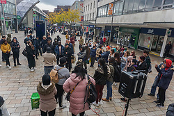 © Licensed to London News Pictures 17/10/2020. Sheffield , UK. Members of the public gather in the city center of Sheffield as they ignore the new lockdown rules.  Coronavirus infections continue to rise across Sheffield as the city from Wednesday is in Tier 2 of new restrictions. 418 cases per 100,000 people have identified in the seven days till 10 October 2020. Photo credit: Ioannis Alexopoulos/LNP