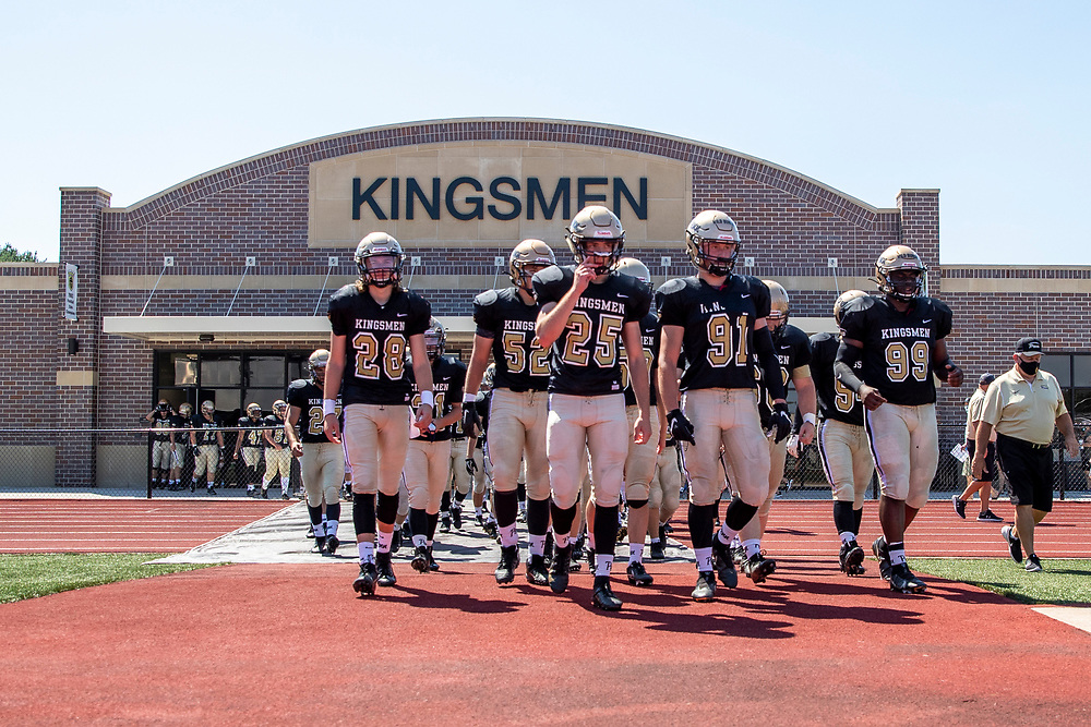 Penn players take the field prior to the Valparaiso-Penn high school football game on Saturday, August 22, 2020, at Freed Field in Mishawaka, Indiana.