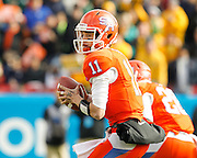 Sam Houston State Bearkats quarterback Brian Bell (11) looks for an open receiver during the FCS title game against North Dakota State at FC Dallas Stadium in Frisco, Texas, on January 5, 2013.  (Stan Olszewski/The Dallas Morning News)