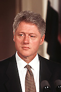 President Bill Clinton during a joint press conference with visiting Egyptian President Hosni Mubarak July 31, 1996 in the White House East Room.
