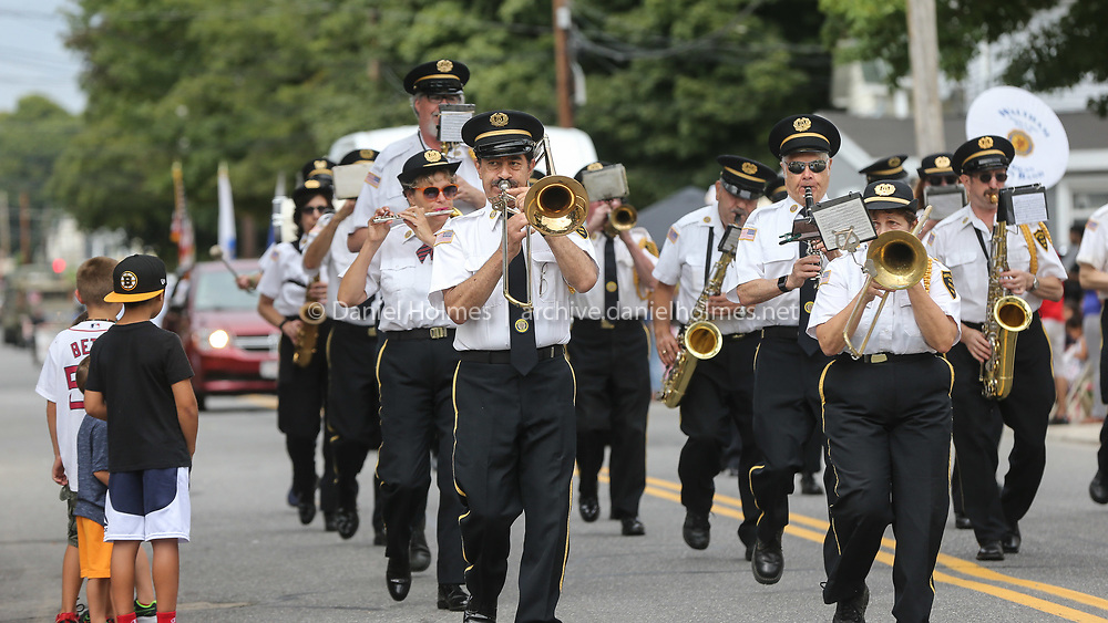 (9/2/19, MARLBOROUGH, MA) The Waltham American Legion Marching Band plays during the 68th annual Labor Day Parade along  Broad St. in Marlborough on Monday. [Daily News and Wicked Local Photo/Dan Holmes]