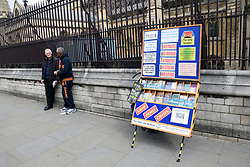 Open Air Mission leaflet display outside Parliament, London UK 29 April 2019. The Open-Air Mission is a Christian society (established in 1853) dedicated to sharing the gospel in the open-air