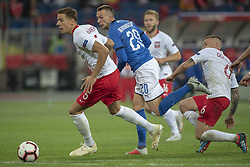 October 14, 2018 - Chorzow, Poland - Jan Bednarek of Poland and Federico Bernardeschi of Italy during the UEFA Nations League A match between Poland and Italy at Silesian Stadium in Chorzow, Poland on October 14, 2018  (Credit Image: © Andrew Surma/NurPhoto via ZUMA Press)