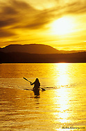 Sea Kayaking on Whitefish Lake at Sunset in Montana<br /> model released